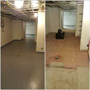 Epoxy Slope To Drain Floor Coating Before and After
